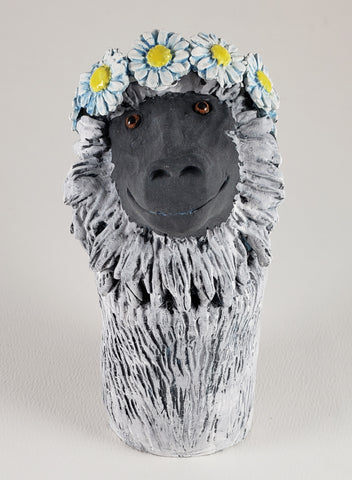 June the Baboon Wears a Daisy Headband - Artworks by Karen Fincannon