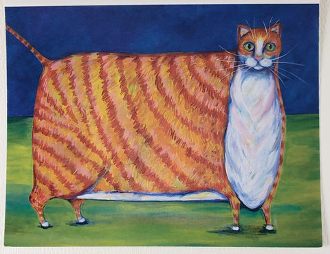 Big Orange Cat Greeting Card - Artworks by Karen Fincannon