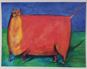 Big Red Cat Greeting Card - Artworks by Karen Fincannon
