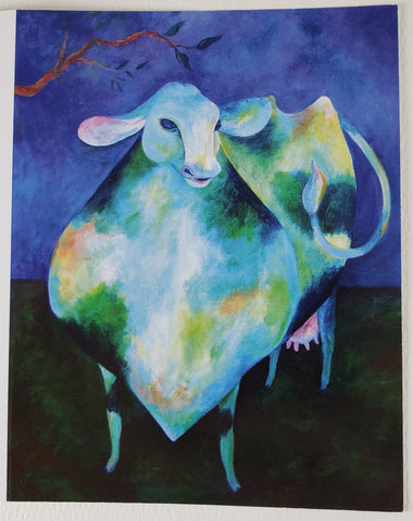 Blue Cow Greeting Card - Artworks by Karen Fincannon