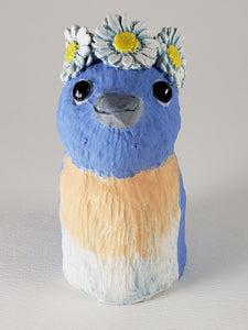 Blue Sky Bluebird Wears a Daisy Headband