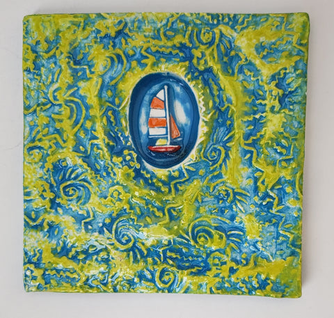 Boat 4x4 Ceramic Tile - Artworks by Karen Fincannon