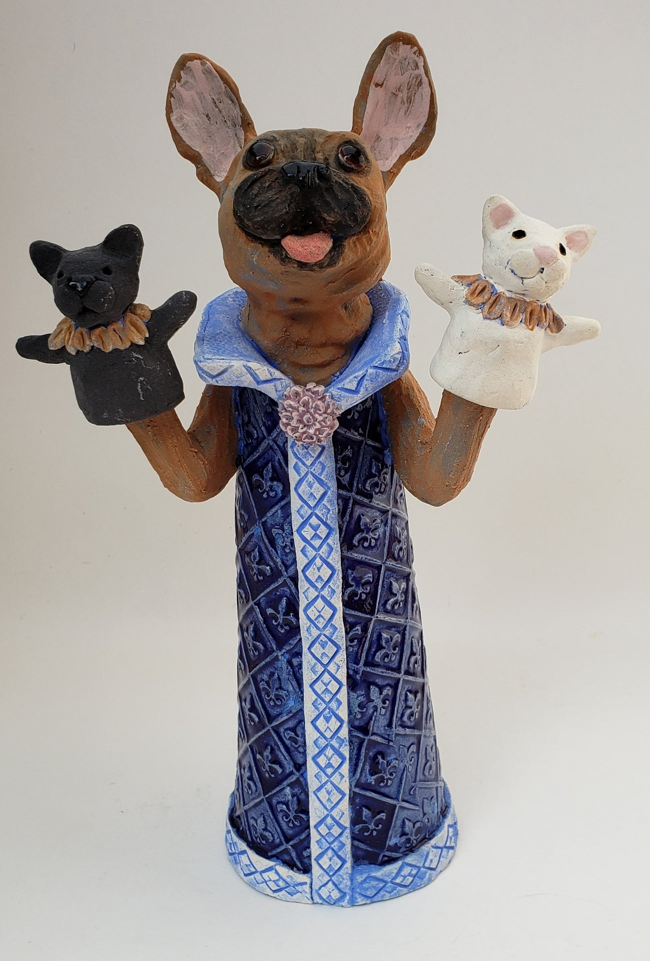 Reigning Cats by Dog Puppet Sculpture - Artworks by Karen Fincannon