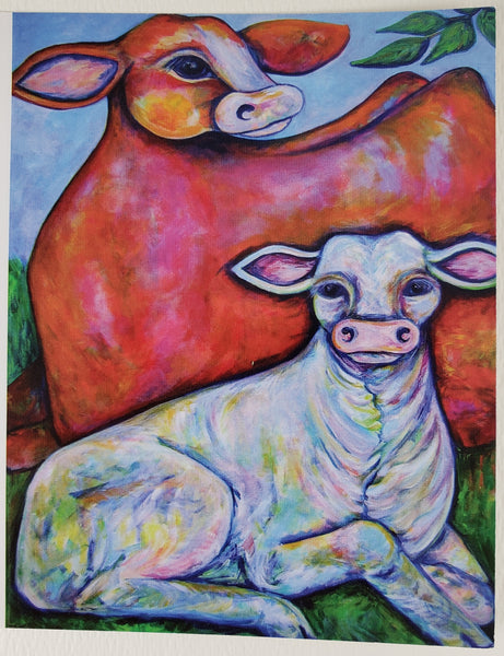Mother and Calf Greeting Card - Artworks by Karen Fincannon