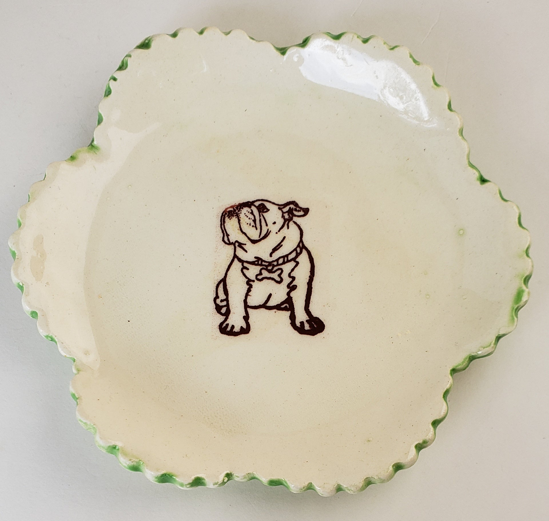 Tiny Plate with a Bulldog - Artworks by Karen Fincannon