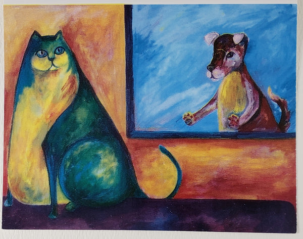 Cat and Dog Greeting Card - Artworks by Karen Fincannon