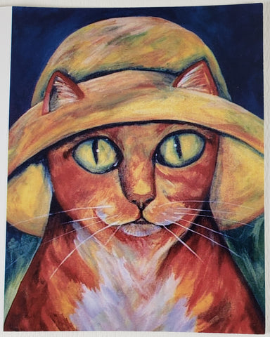 Cat in a Hat Greeting Card - Artworks by Karen Fincannon
