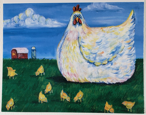 Chicken with Chicks Greeting Card - Artworks by Karen Fincannon