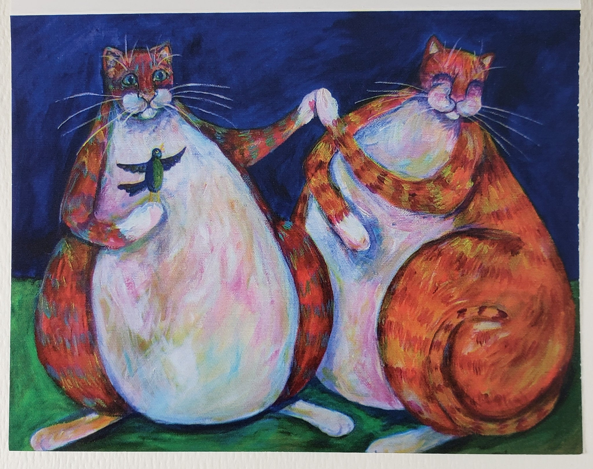Two Cats High Five Greeting Card - Artworks by Karen Fincannon