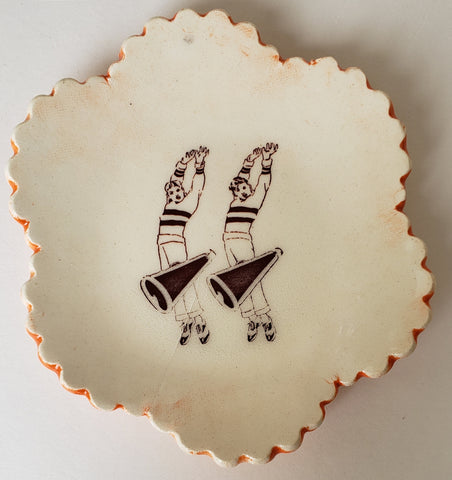 Tiny Plate with Two Cheerleaders - Artworks by Karen Fincannon