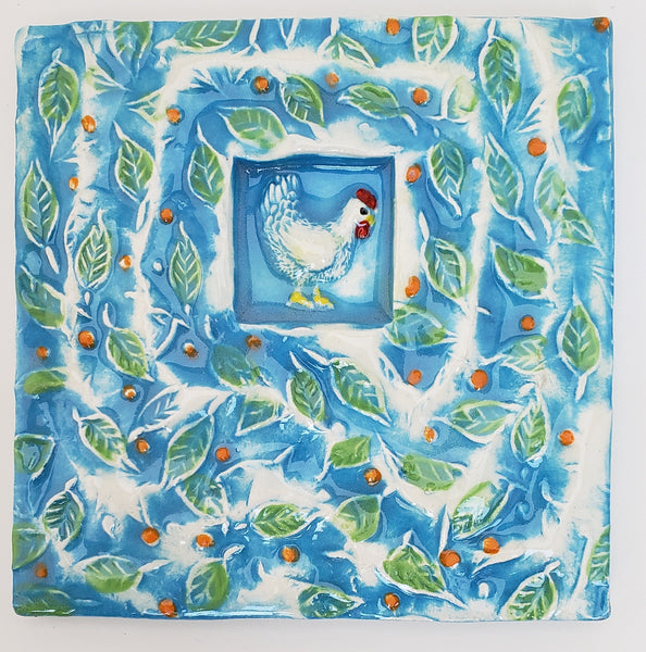 Funky Chicken 4x4 Ceramic Tile - Artworks by Karen Fincannon