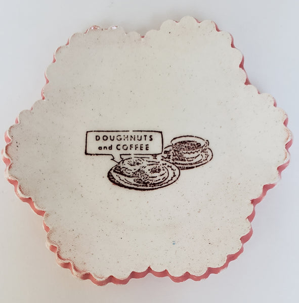 "Tiny Plate with ""Coffee and Doughnuts"""