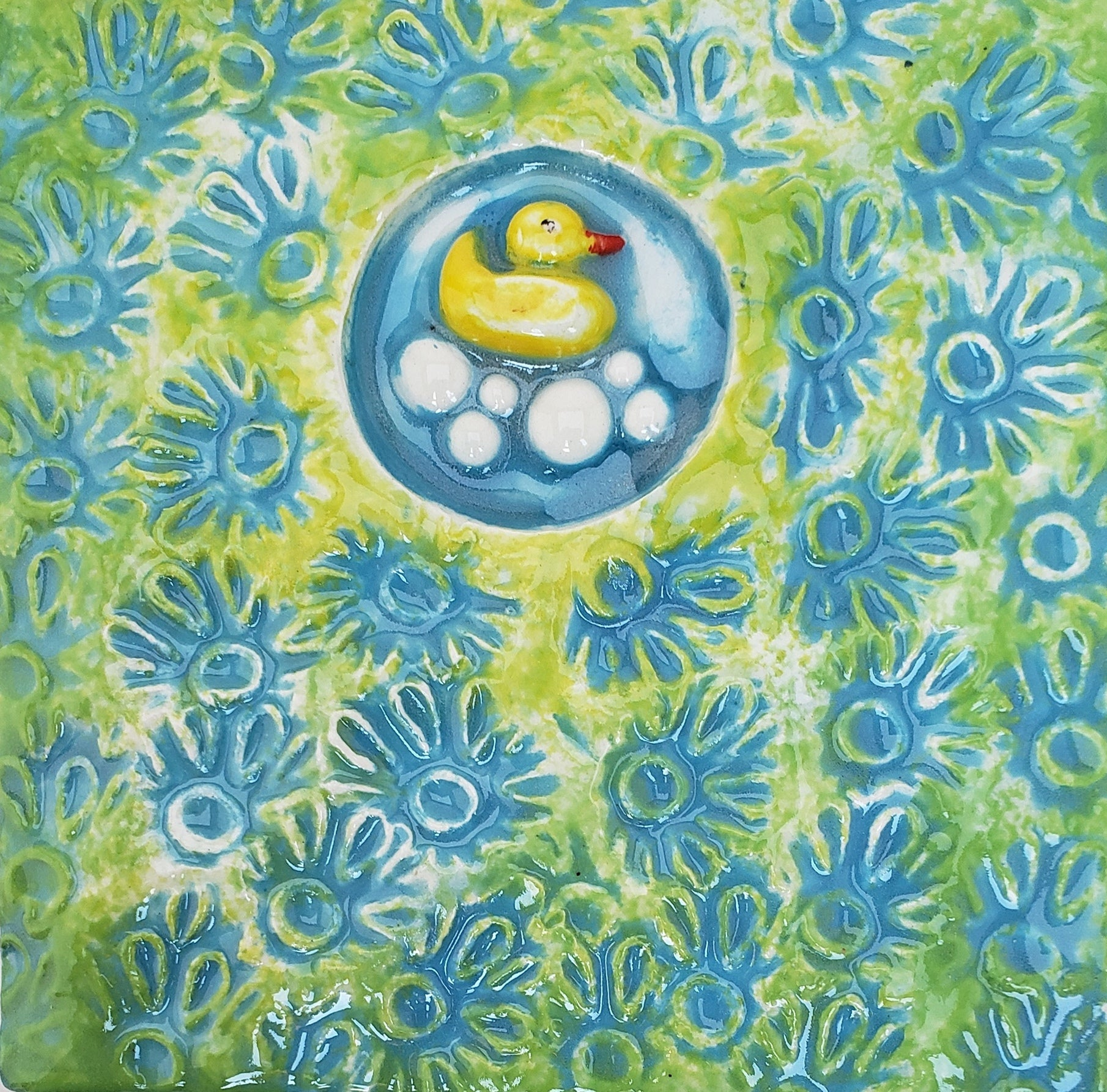 Rubber Duck 4x4 Ceramic Tile - Artworks by Karen Fincannon