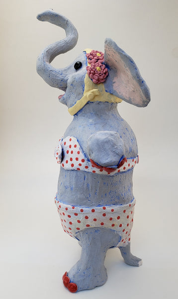 Actually, I Do Forget! Elephant Sculpture Vintage Swimmer - Artworks by Karen Fincannon