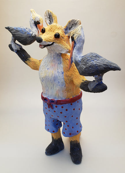 What the Fox? with Pelican Friends Vintage Swimmer - Artworks by Karen Fincannon