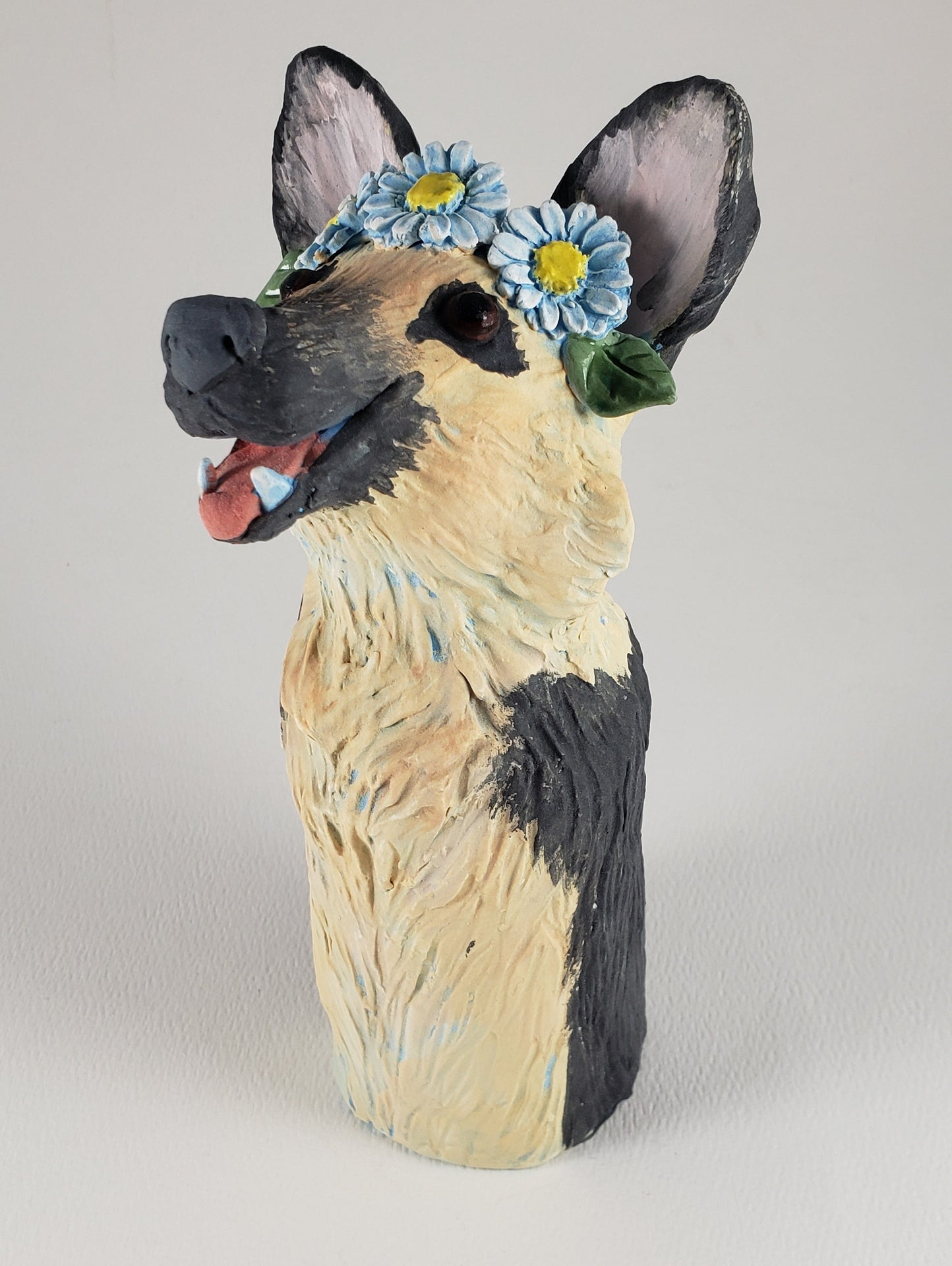 Rolff the German Shepherd Wears a Daisy Headband - Artworks by Karen Fincannon