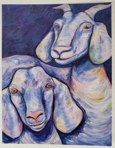 Two Goats Greeting Card - Artworks by Karen Fincannon