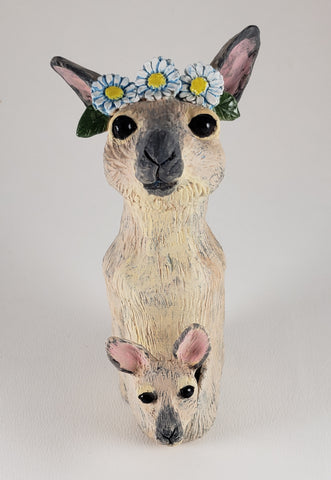 Skippy the Bush Kangaroo Wears a Daisy Headband - Artworks by Karen Fincannon