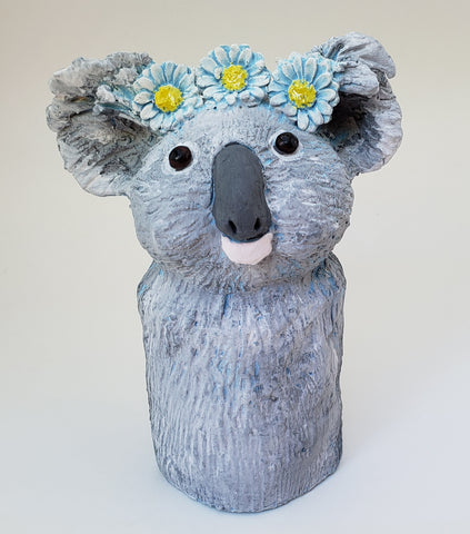 Konstance the Koala Bear Wearing a Daisy Headband - Artworks by Karen Fincannon
