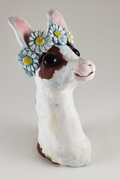 Como Se Llama Wears a Daisy Headband - Artworks by Karen Fincannon