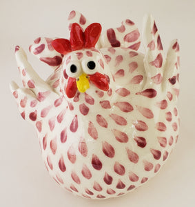Maroon and White Chicken Medium - Artworks by Karen Fincannon