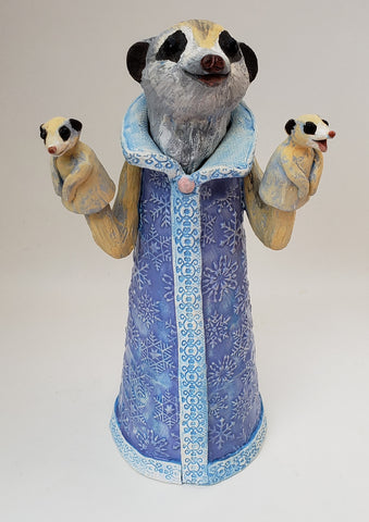 Junebug Meerkat Puppet Sculpture - Artworks by Karen Fincannon
