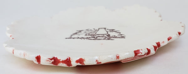 Tiny Plate with a Cow and Milk - Artworks by Karen Fincannon