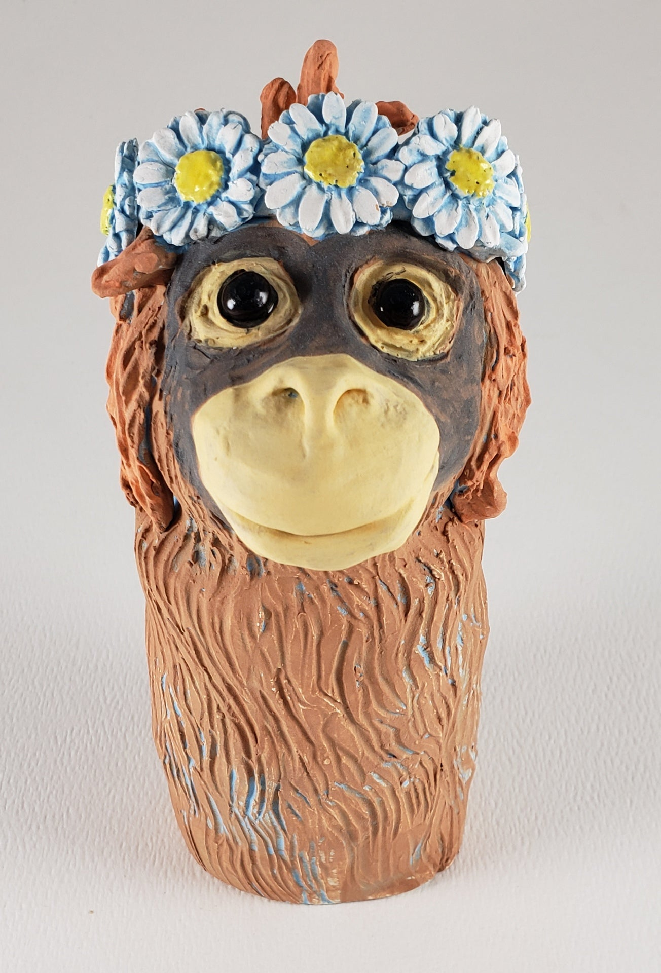 Mr. Smith the Orangutan Wears a Daisy Headband - Artworks by Karen Fincannon