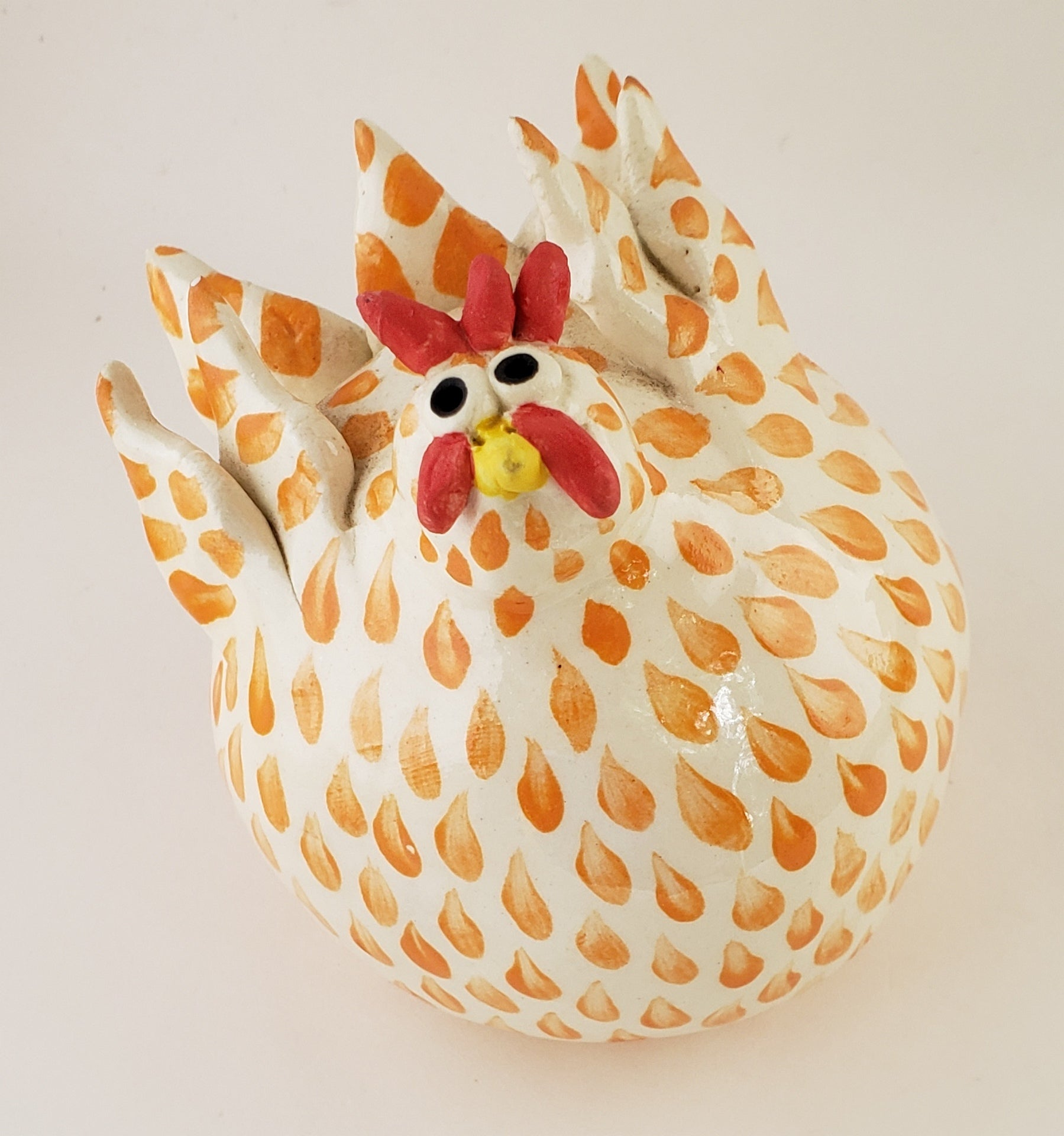 Orange and White Chicken Medium - Artworks by Karen Fincannon