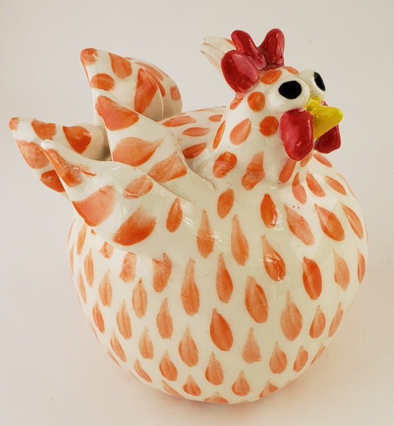 Orange and White Chicken Small - Artworks by Karen Fincannon