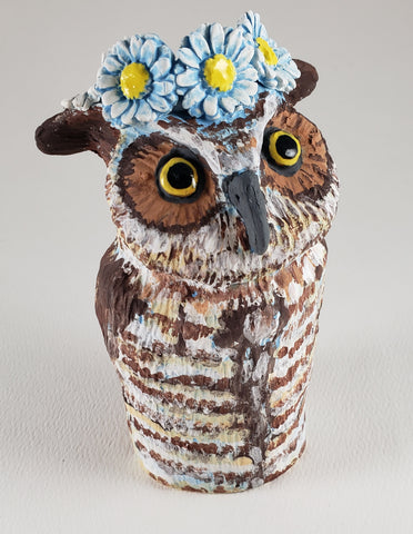 Oliver the Owl Wears a Daisy Headband - Artworks by Karen Fincannon
