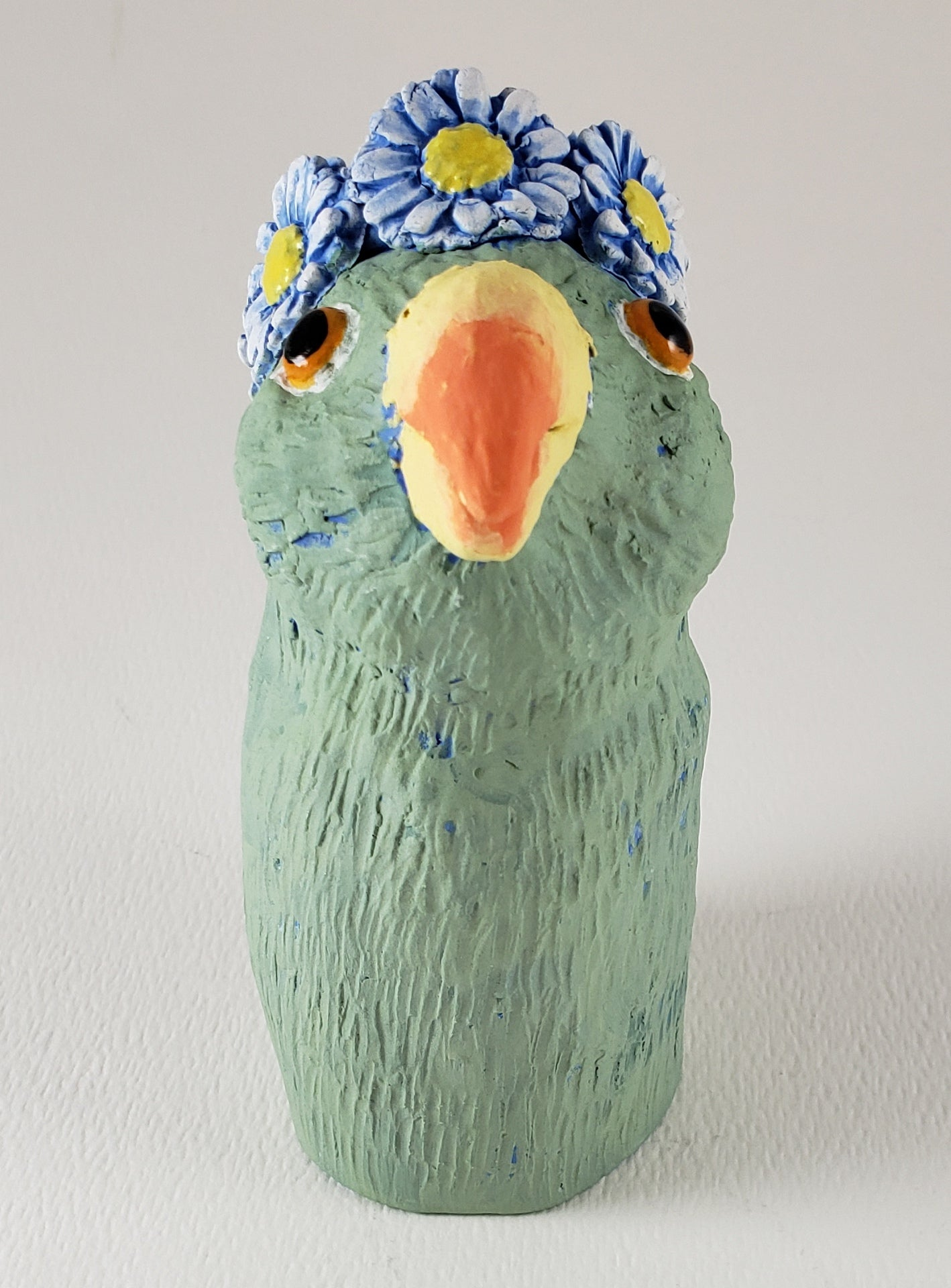 This is Not A Parrot Wears a Daisy Headband - Artworks by Karen Fincannon