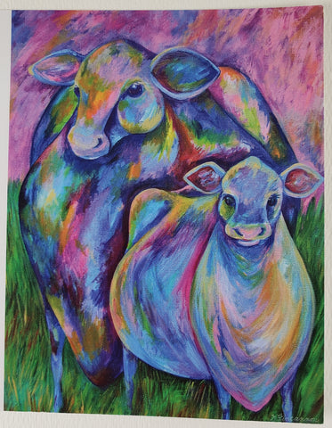 Two Colorful Cows Greeting Card - Artworks by Karen Fincannon