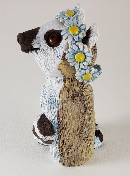 Ring Tailed Lemur Wears a Daisy Headband - Artworks by Karen Fincannon