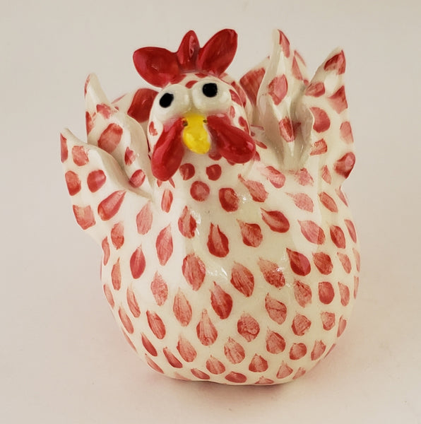 Red and White Chicken Shaker #1 - Artworks by Karen Fincannon