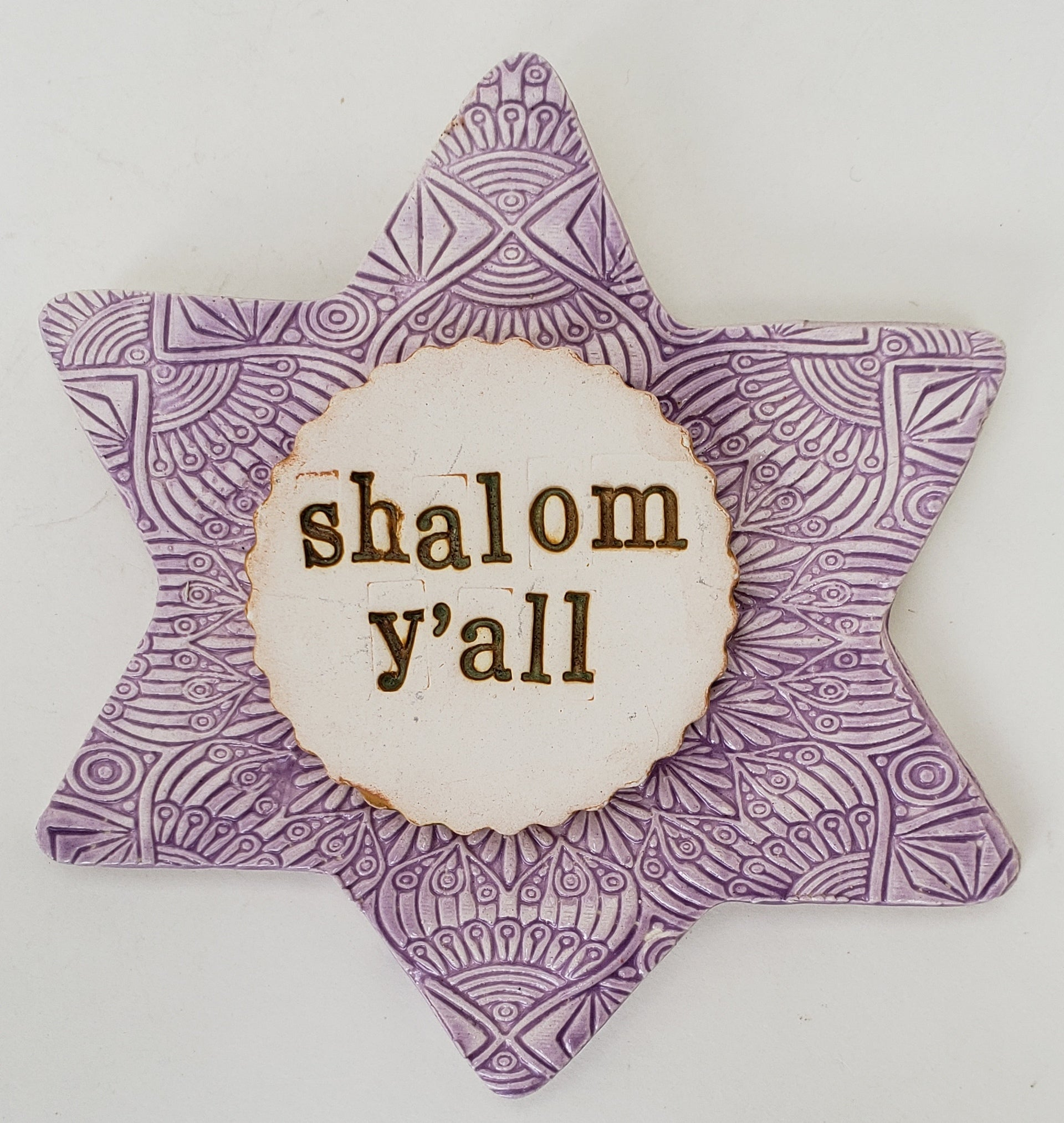 Shalom Y'all Word Plaque Purple