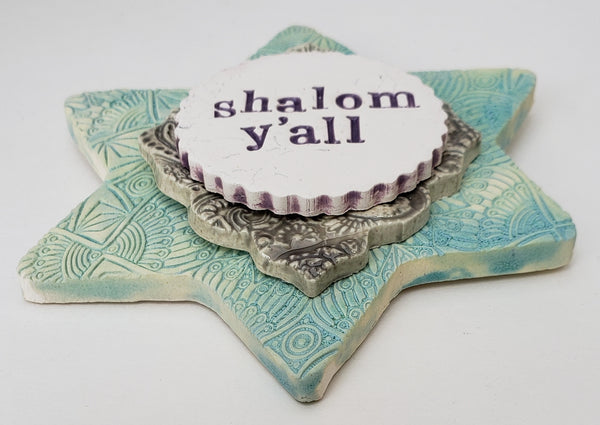 Shalom Y'all Word Plaque Turquoise - Artworks by Karen Fincannon