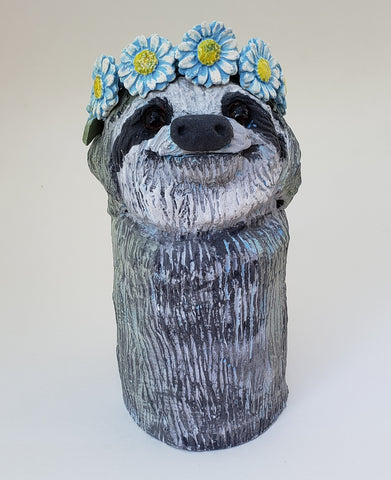 Silvia the Sloth Wearing a Daisy Headband - Artworks by Karen Fincannon