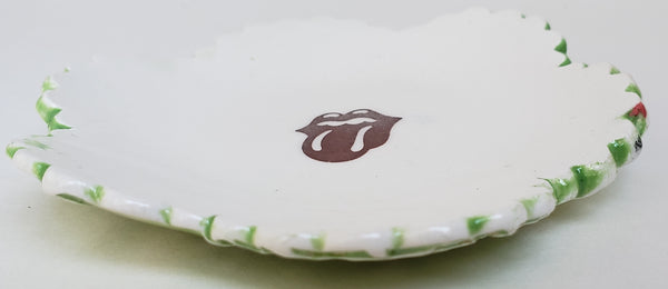 Tiny Plate with the Rolling Stones tongue - Artworks by Karen Fincannon
