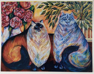 Two Colorful Cats Greeting Card - Artworks by Karen Fincannon