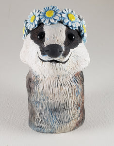 Frances the Badger Wears a Daisy Headband - Artworks by Karen Fincannon