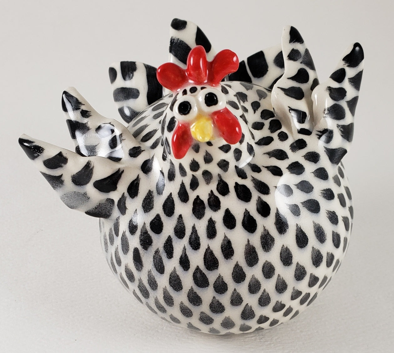 Black and White Chicken Medium - Artworks by Karen Fincannon