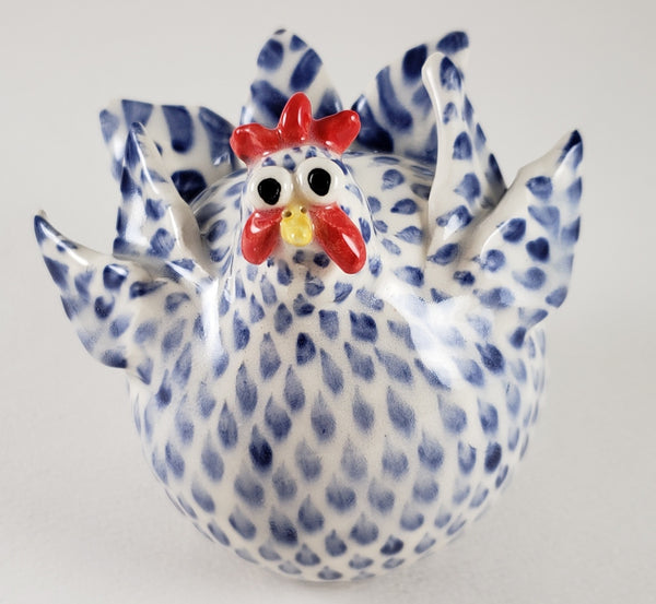 Blue and White Chicken Medium - Artworks by Karen Fincannon