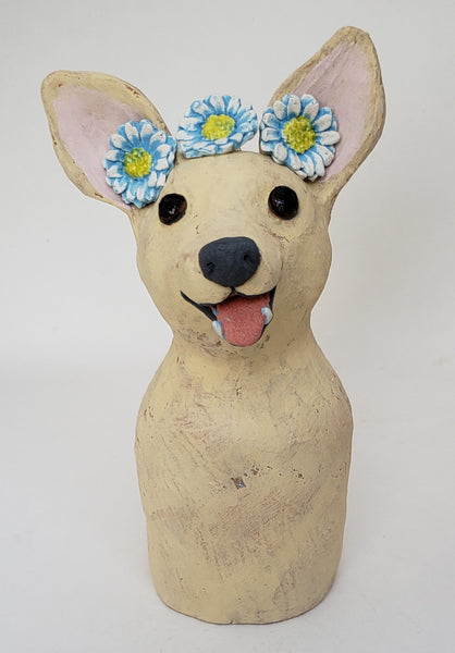 Chelsea the Chihuahua Wearing a Daisy Headband - Artworks by Karen Fincannon