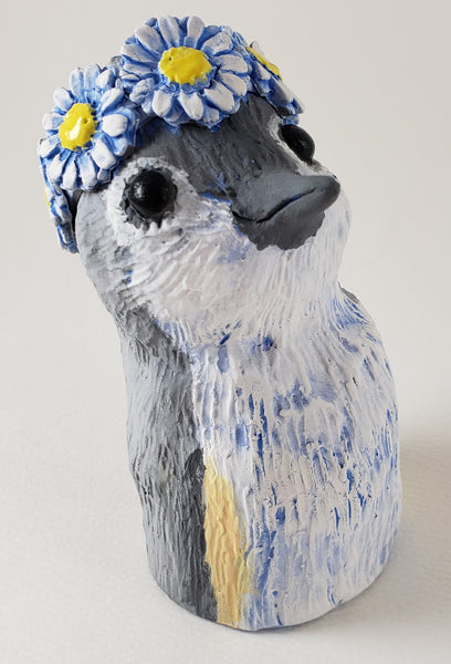 Tommy Tune Titmouse Wears a Daisy Headband - Artworks by Karen Fincannon