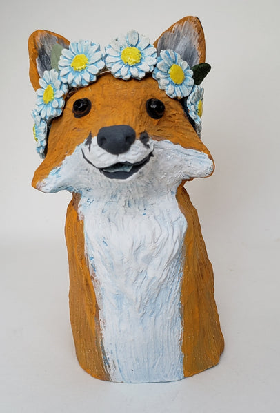 Fanny Fox Wears a Daisy Headband - Artworks by Karen Fincannon