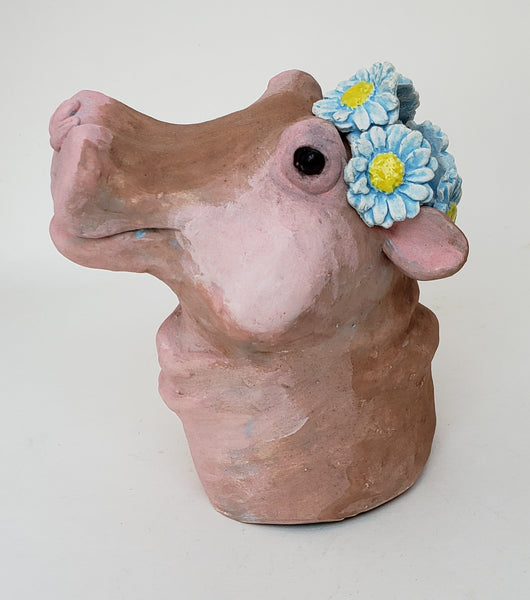 Heloise the Hippo Wearing a Daisy Headband - Artworks by Karen Fincannon