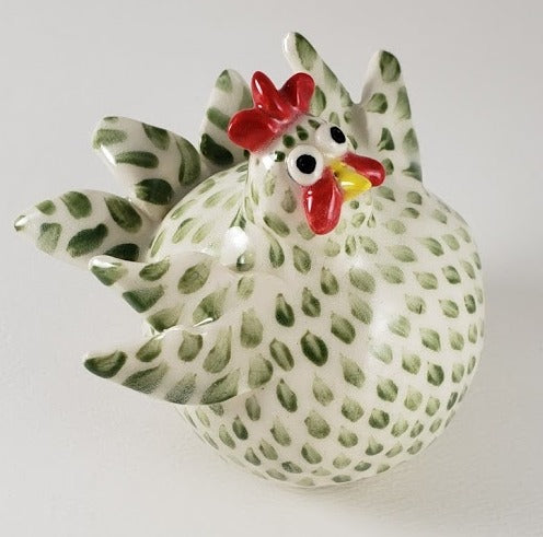 Green and White Chicken Medium - Artworks by Karen Fincannon