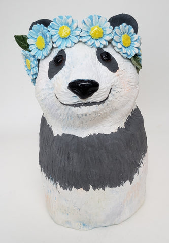 Patsy the Panda Bear Wearing a Daisy Headband - Artworks by Karen Fincannon