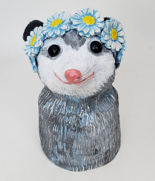 Polly Possum Wears a Daisy Headband - Artworks by Karen Fincannon